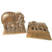 Vintage Folding Elephant Bookends Hand Carved Solid Wood Pair Safari Decor