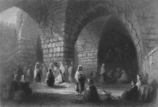 JERUSALEM. Roman & Mediaeval Masonry-Bartlett 1847 old antique print picture