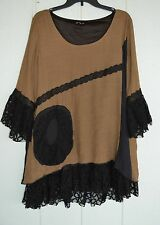 LILY FIRMIANA 3X Stretch Black Brown Lace Ruffle Flounce Swing Tunic Dress Boho