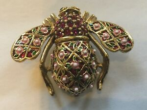 Joan Rivers Faberge Rose Trellis Bee Pin
