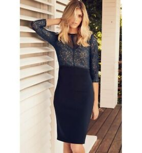 BNWT Next Navy Lace & Mesh Stretch Evening Occasion Pencil Dress Size 16 NEW