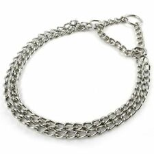 Pet Dog Training Collar Double Chrome Plated Choke Metal Stainless Steel Chain L