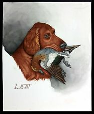 "Jean Herblet, French 17""x 13"" Original Watercolor, Irish Setter, European Wigeon"