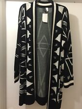 Black & White Women Cardigan Chic H&M Large Long Geometric Open Front Sweater