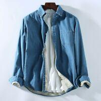 Mens Winter Warm Denim Jean Fleece Lined Shirt Trucker Fluffy Blouse Jacket Tops