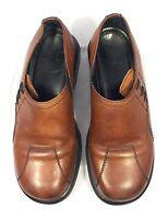 Dansko Brown Leather Slip On Women Clogs, Size 38