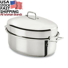 All-Clad E7879664 Stainless Steel Dishwasher Safe Oven Covered Oval Roaster...