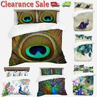 Digital Print Peacock Duvet Quilt Cover With Pillowcases Bedding Set All Sizes