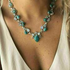 Boho Gemstone Flower Turquoise 925 Silver Chain Pendant Necklace Jewelry Gift TR