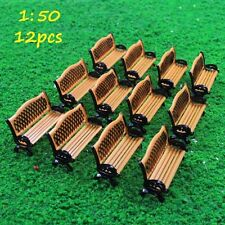 ZY34050OB 12pcs Model Train Railway Platform Park Street Seats Bench Chair1:50 O