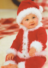 """Xmas Little Santa Baby Outfit 16"""" - 22"""" ~  0 - 2 years ~  Knitting Pattern"""