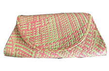 HYPE Small Pink & Green Straw Clutch~Magnetic Closure~NEW~Lined~Inner Pockets