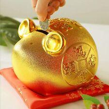 Feng Shui Golden Piggy Bank 鴻�當頭 Good Luck Chinese Zodiac Rat/Mouse Coin box Usa