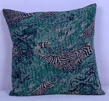 "Indian Kantha Work Pillow Case 16"" VINTAGE KANTHA PILLOW CUSHION COVER THROW ART"