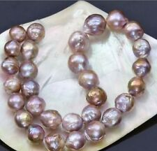 """18"""" 11-13mm natural south seas pink purple kasumi pearl necklace 14K clasp"""