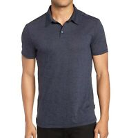 John Varvatos Star USA Men's Short Sleeve Burnout Stripe Polo Shirt Dark Blue