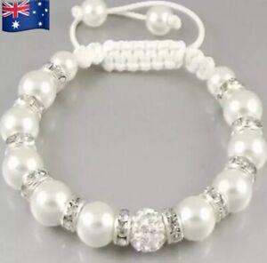 New Charm Bracelet - White Pearl Designed Shamballa Style Bangle Disco Ball