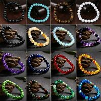 Fashion Natural Stone Chakra Turquoise Beaded Charm Bracelet Lucky Unisex Gifts