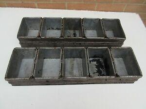 2 vintage industrial metal bakery bread loaf tin racks 10 tins for shelf display