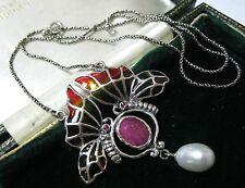 Jour Enamel Nouveau Real Ruby Necklace Assay Hallmarked Sterling Silver Plique A