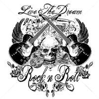 Live The Dream Rock & Roll Music Guitars Skull Funny Party T-Shirt Tee