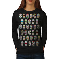 Wellcoda Skull Acid Womens Long Sleeve T-shirt, Concert Casual Design