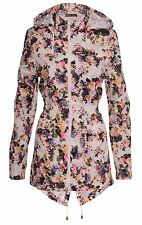 New Ladies Fishtail Floral Print Showerproof Parka Hooded Jacket Raincoat 8-24