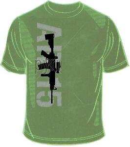 Maglietta T-Shirt Militare con Stampa Colt AR 15 Colore Foliage Green