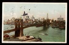 c.1910 Brooklyn bridge skyline New York city postcard