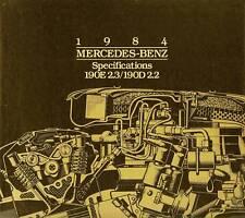 1984 MERCEDES-BENZ 190 SPECIFICATIONS BROCHURE-190E & 190D