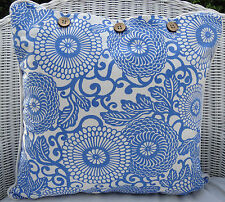 SCATTER CUSHION COVER  40 X 40 BLUE & WHITE PATTERN THROW PILLOW CASE,