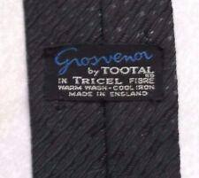 Grosvenor Tootal Cravatta Skinny Slim Mod Vintage Due Tonalità Scintillante Nero Grigio 1960s
