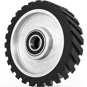 """VEVOR 10""""x2"""" Serrated Rubber Contact Wheel for Belt Sander Grinder 6206 Bearing"""