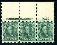 USAstamps Unused FVF US Franklin Plate # Imprint Strip Scott 300 OG MNH