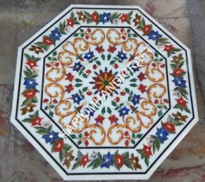 """24"""" White Marble Table Top Marquetry Floral Inlay Handmade Home Decor E884C"""