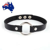 AUS STOCK - BLACK Goth Punk Faux LEATHER CIRCLE O-Ring Collar CHOKER Harajuku