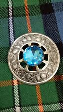 """Scottish Fly Plaid Brooch Antique Finish Sky Blue Stone Ladies Pin & Brooches 3"""""""