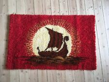 VINTAGE 1960S RYA RUG VIKING SHIP SHAG WALL CARPET MID CENTURY DANISH MODERN