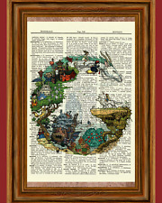 Ghibli Tribute Dictionary Art Print Picture Spirited Away Totoro Howl's Kiki