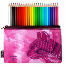 Monster Stationery Joshua Green Wild Cat Pencil Case & 24 Lyra Colouring Pencils