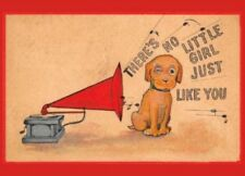 Postcard: Vintage repro - Dog & Phonograph, There's No Little Girl Like You