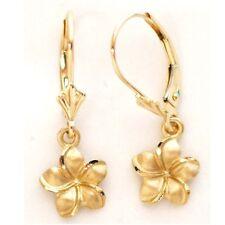 14K Solid Yellow Gold Hawaiian Plumeria Earring W: 9 mm Length 25 mm E2511-70