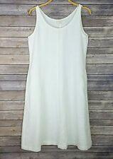 Eileen Fisher Dress Sleeveless White Linen Midi Scoop Neck Pockets Sz M NWT $178