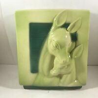 Vintage Ceramic Pottery Planter Deer with Fawn Green