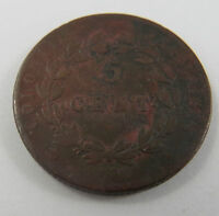 PT-147 FRENCH COLONIES 1830 A BRONZE 5 CENTIMES COIN.PARIS MINT.SEE PICTURES.