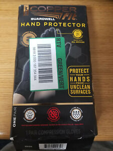 Copper Fit Guardwell Hand Protector Gloves,Unisex, Size S/M - Black