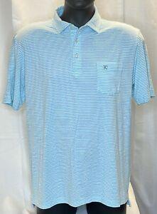 Peter Millar Seaside Wash Men's Medium Multicolored Blue Short Sleeve Golf Polo