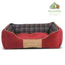 LARGE Scruffs Highland Dog Box Bed Red Tartan Machine Washable 75 x 60cm