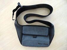PRADA MIU MIU Pretty GRAY CROSS SHOULDER HOBO BAG PURSE - Cloth/Nylon