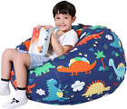 Kids Bean Bag Chair Stuffed Animal Storage Zipper Closure Dinosaur Large Cover
